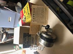 1958 Zebco Model 55 Heavy Duty Spinner Spincast Reel, Box+Manual USA Made Vtg