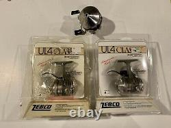 (2) 1986 Vintage ZEBCO UL4 Classic Fishing Reel USA NOS In Package 33
