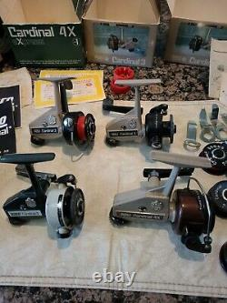 4 Vintage Zebco Abu Cardinal 3 & 4 Fishing Reels Clean Extra Spools Boxes Work