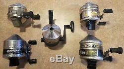 5 Vintage Zebco Fishing Reels Omega 154, Claiicc 33, ONE, Haug 733, 909 Work