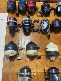 Bundle of fishing reels. Daiwa, Johnson, Zebco, South Bend, Garcia, Shakespeare