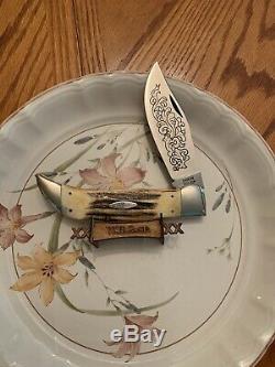 Case knife blue scroll 1977 stag handle case double X number 5172SSP big knife