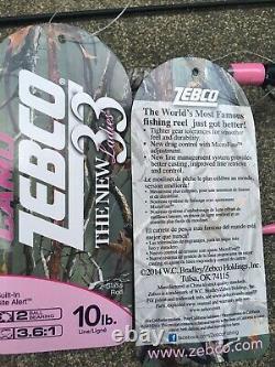 Dealer Case (4) Zebco 33 Ladies Pink Camo Rod Reel (PLUS MY$TERY FISHING ITEM$)