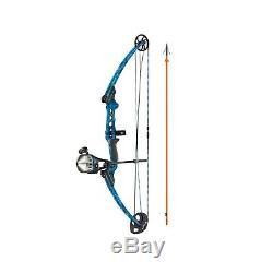 Fishing Compound Bow with Kit Right Hand Blue Zebco Reel Fiberglass Arrow