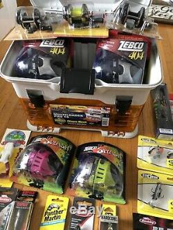 Flambeau Tackle Box With Zebco And Bucks Reels And Tackle- Rapala, Storm, Yozuri