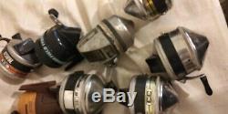 LOT OF 12 Vintage Zebco 33 Spin Casting Fishing Reels & HEDDON MARK 190