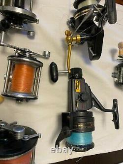 Lot Of 9 Fishing Reels Penn, Zebco, Daiwa, Ocean City
