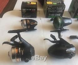 Lot of 7 Vintage Fishing Reels Zebco + Johnson VGC 6 WITH LINE, ALL WORK