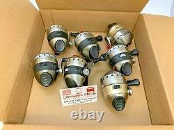 (Lot of 7) Zebco 33 Spincast Reels Single Handle Assorted Colors