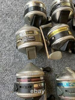 Lot of 9 Mixed Brand Fishing Reels, Zebco