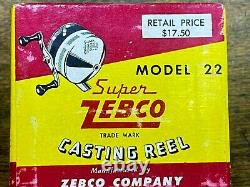 NOS SUPER ZEBCO Casting Fishing Reel / Model 22 / NEW in Original Box w papers