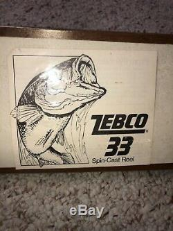 Old Zebco 33 Rod and reel combo In Wood grain Package 1970 New old stock
