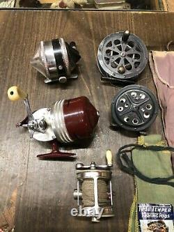 Original LOT Vintage PFLUEGER WONDERCAST ZEBCO FREE SPOOL Old REEL Collection