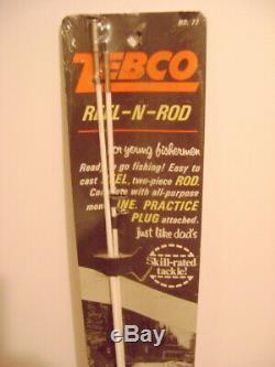 RARE vintage ZEPCO 77 junior reel-n-rod fishing combo UNUSED in package MAN cave
