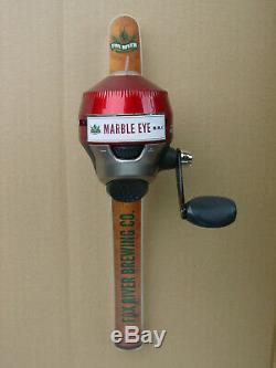 Rare Fox River Brewing Oshkosh Wis. Zebco 202 Fishing Reel Marble Eye tap handle
