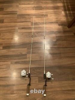 Rare Zebco 302 White Fishing Reel & Rod X 2