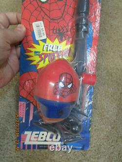SPIDER MAN TELESCOPIC SPIN CAST COMBINATION FISHING ROD REEL 1995 RED spincast