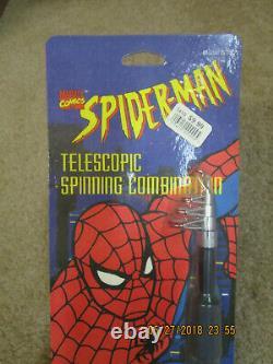 SPIDER MAN TELESCOPIC SPINNING COMBINATION FISHING ROD REEL 1995- BLACK spincast