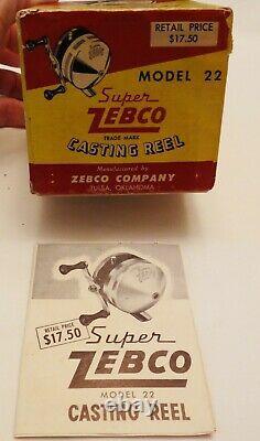 Super ZEBCO Casting Reel Model 22 New Old Stock in Original Box