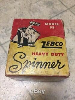 VINTAGE 1958 Zebco Model 55 Heavy Duty Spinner Fishing Reel in Original Box