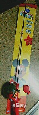 VINTAGE Never Used MICKEY MOUSE Kids Fishing Pole ZEBCO ROD, REEL, PLUG