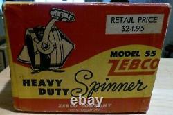 VINTAGE ZEBCO MODEL 55 SPINNER FISHING REEL IN BOX WithPAPERWORK