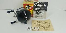 Vintage 1955 Zebco 33 1st Edition Mylar Plastic Head Black Reel W Box And Papers