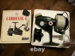Vintage 1970 Zebco Cardinal 4 Reel With Box etc NEVER USED! S/N 127000