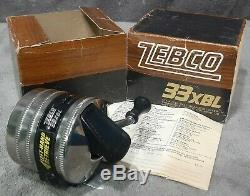 Vintage 1976 Zebco 33XBL Spincast Fishing Reel Mint in Box & Manual! Made in USA