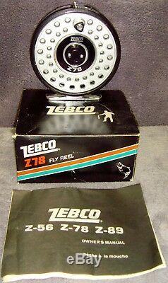 Vintage 1983 Zebco Z78 Fly Reel Brand New n Box Metal Foot Includes Manual Japan