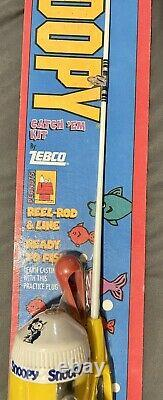 Vintage 1996 Snoopy Peanuts Kids Fishing Pole Rod & Zebco Reel Catch'Em Kit NIP