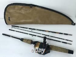 Vintage 80's Zebco Pack Rod & Reel Combo 6' Rod Carrying Bag Hiking Backpack