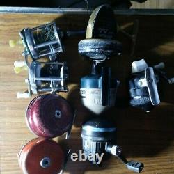 Vintage Fishing Reels Lot of 8 Good All, ZebCo, Stream Lake Shakespeare