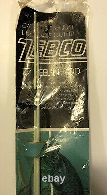Vintage Zebco Jr. Model 77 Wood Handle Rod/Reel Combo (2pc) White & Green NIB