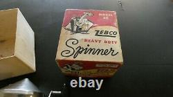 Vintage Zebco Model 55 Spinner Fishing Reel In Box