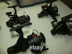 Vintage collection working spinning reels as a lot of 10, Shimano, Zebco, Daiwa