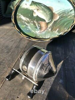 Vtg 1950s TULSA ZEBCO 33 Spinner Fishing Reel made in USA incredible condition