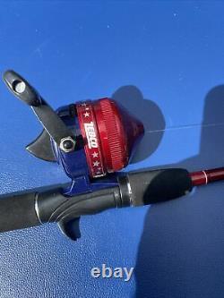 Working Rare Red White & Blue Firecracker Zebco 202 With Original Rod. Amazing