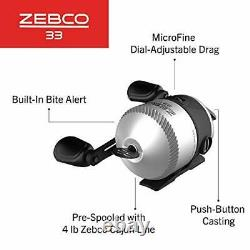 Zebco 33 Micro Spincast Reel and Fishing Rod Combo, 4-Foot 6-Inch 2-Piece Durabl