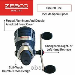 Zebco Bullet Spincast Fishing Reel, Size 30 Reel, Fast 29.6 Inches Per Turn, Gri