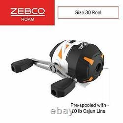 Zebco Roam Orange Spincast Reel and 2-Piece Fishing Rod Combo ComfortGrip Rod