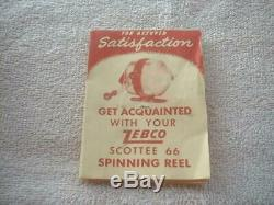 Zebco Scottee 66 Vintage Reel, Box, P/W, Brushed Alum, 1958 only yr. Very Nice