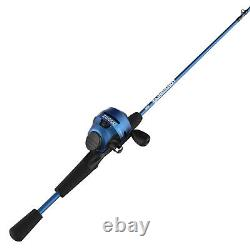 Zebco Slingshot Spincast Reel and Fishing Rod Combo, 5-Foot 6-in 2-Piece Rod, Bl