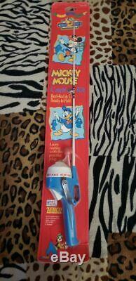 1996 Mickey Mouse Combo Pêche Enfants Rod & Reel Zebco Brunswick Disney Pôle Rare