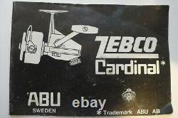 Bobine De Pêche Vintage Zebco Cardinal 4 Avec Livret Original Et Pièces Détachées