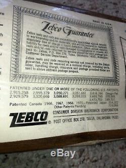 Old Zebco 33 Rod Et Combo Moulinet Dans Le Grain Du Bois Paquet 1970 Nouveau Vieux Stock