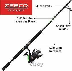 Quantum Fishing Zebco Alert Spinning Reel Et 2-piece Fishing Rod Combo
