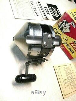 Rare Zebco Moulinet De Pêche Avec Spinner Robustes, Modèle 55 Super Clean