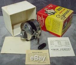 Vintage 1958 Zebco Model 55 Spinner Robuste Bobine + Boîte + Manuel Fabriqué Aux Etats-unis