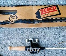 Vintage 1960's Zebco Jr. Modèle 77 Wood Handle Rod/reel Combo White & Black- Nib